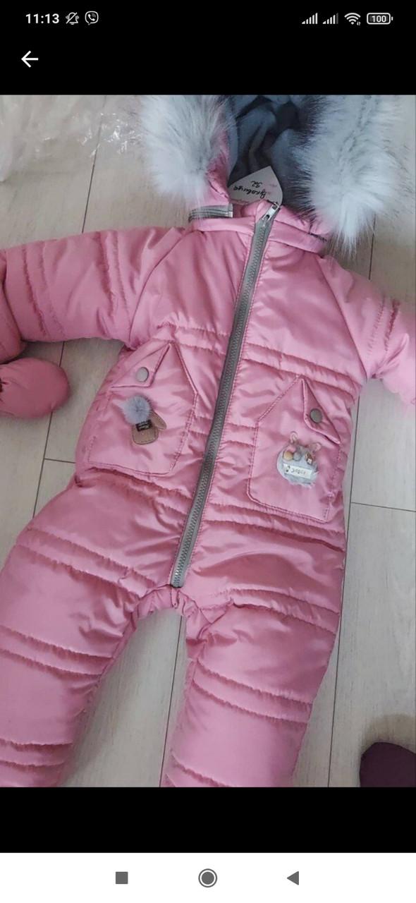 Детский зимний комбинезон 92 розовый