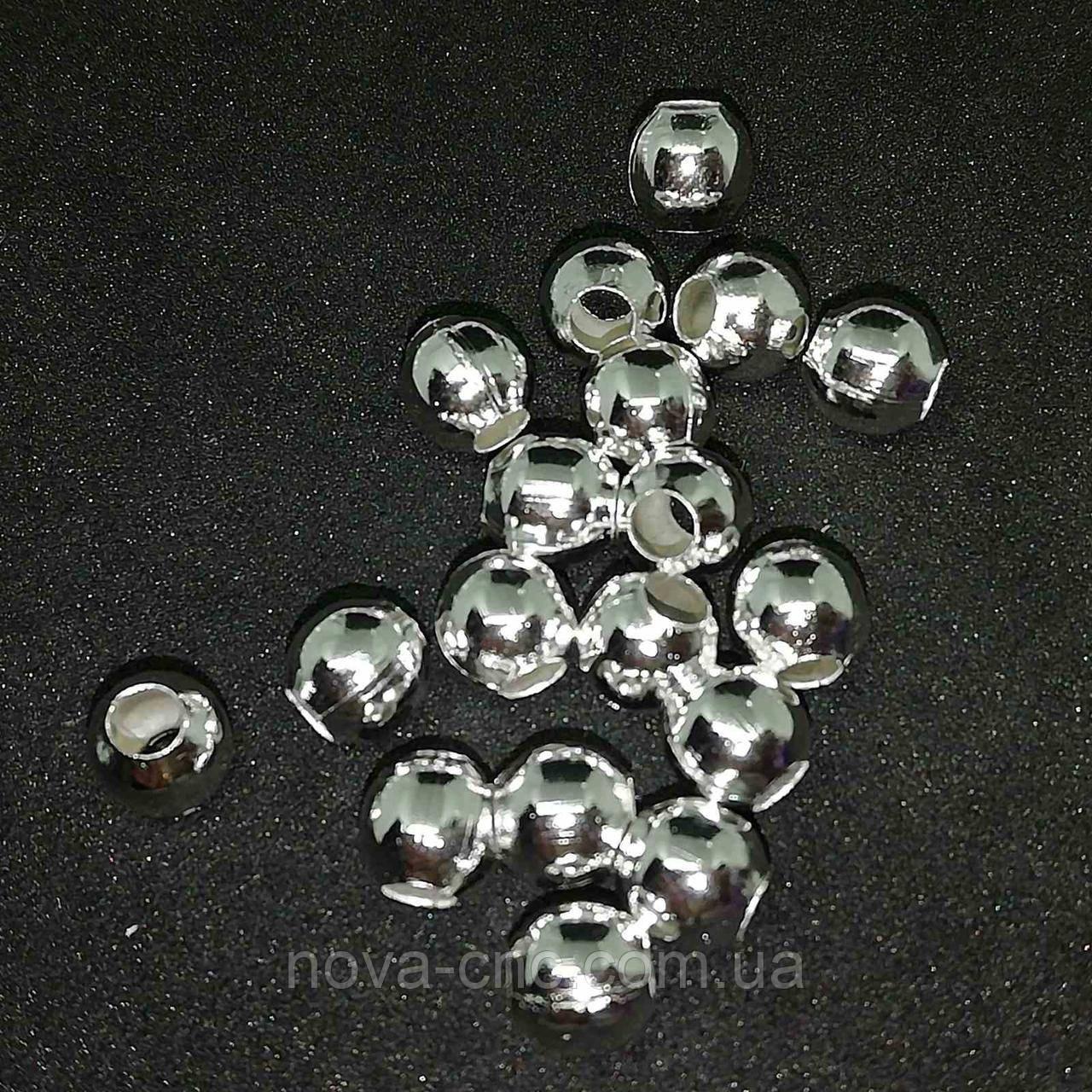 Бусины  металл  серебро 6 мм 180 шт