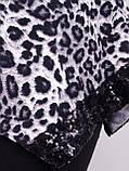 Монна принт. Красива туніка великого розміру. Леопард сірий., фото 6