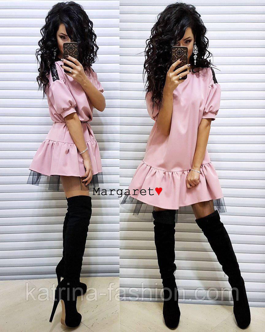 Красиве жіноче плаття костюмка і фатин (3 кольори)