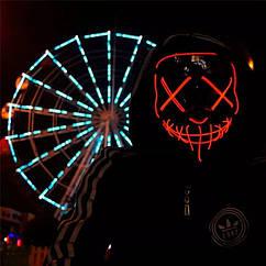 "МАСКА на Helloween 2020! Светящаяся НЕОНОВАЯ маска - ""Судная ночь"" КРАСНАЯ"