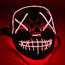"""МАСКА на Helloween 2020! Светящаяся НЕОНОВАЯ маска - """"Судная ночь"""" КРАСНАЯ, фото 4"""