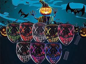 """Неонова LED маска для вечірок """"Судно ніч"""" фіолетова"""