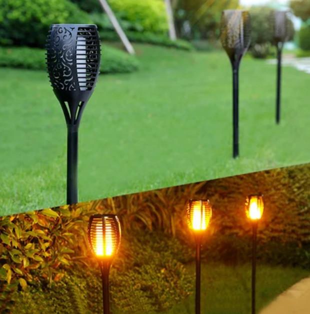 Набор садовых светильнико Факел [Flame Light] 6 шт с имитацией огня > на солнечной батарее > водонепроницаемый