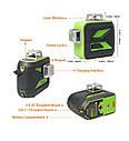 ☀GREEN LINE☀ Лазерный уровень Huepar 3D HP-603CG + дополнительный аккумулятор, фото 2