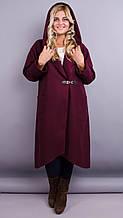 Сарена. Жіноче пальто-кардиган великих розмірів. Бордо. 62-64