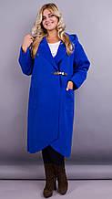 Сарена. Жіноче пальто-кардиган великих розмірів. Електрик. 58-60