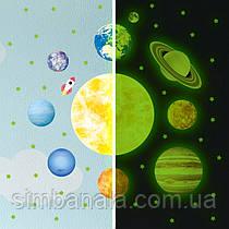 """Детский набор интерерных светящихся в темноте наклеек планет и звезд """"Парад планет"""""""