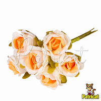 Розочки оранжево-белые декоративный букетик, диаметр 2,5 см 3 шт/уп