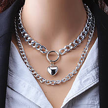 Двойная цепочка на шею с кулоном ожерелье колье