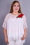 Квитка Роза. Касивая блуза size plus. Белый., фото 2