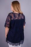 Квитка Роза. Блуза из гипюра size plus. Синий., фото 3