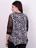 Монна принт. Красива туніка plus size. Леопард сірий., фото 3