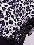 Монна принт. Красива туніка plus size. Леопард сірий., фото 6