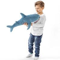 Мягкая игрушка Акула IKEA BLAHAJ подушка синяя икея 60 см (Настоящие фото)