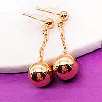 Серьги Xuping длина 3см шарик 10мм медицинское золото позолота 18К с1187