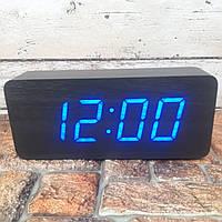 Цифровые Настольные Деревянные Часы С Подсветкой (синие цифры) Живые фото