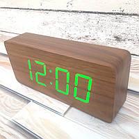Деревянные Электронные настольные часы с подсветкой (зеленые цифры) Настоящие фото