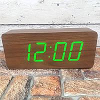 Цифровые Настольные Деревянные Часы С Подсветкой (зеленые цифры) Живые фото