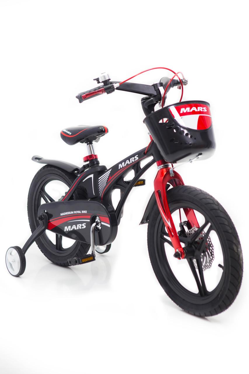 Дитячий легкий магнієвий велосипед зі складним кермом MARS-18 дюймів Чорний від 8 років