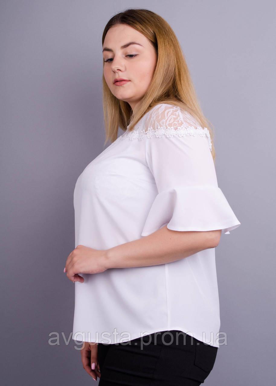 Камелія. Комбінована блуза великих розмірів. Білий.