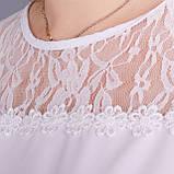 Камелія. Комбінована блуза великих розмірів. Білий., фото 3