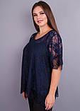 Квитка. Гипюровая блуза больших размеров. Синий., фото 2