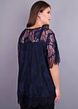 Квитка. Гипюровая блуза больших размеров. Синий., фото 3