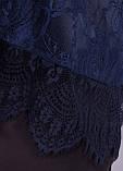 Квитка. Гипюровая блуза больших размеров. Синий., фото 7