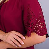 Ажур. Гарне плаття plus size. Бордо., фото 7