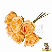 Розочки оранжевые декоративный букетик, диаметр 2,5 см 3 шт/уп