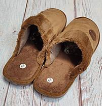 Мужские домашние теплые комнатные тапочки тапки коричневый 40/41р 26.5-27см, фото 3