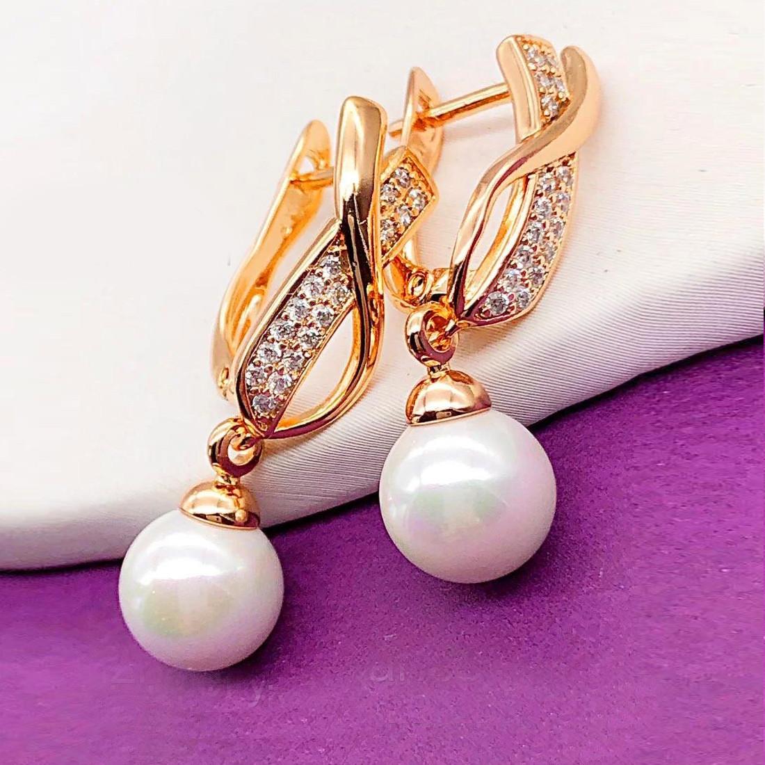 Сережки Xuping довжина 2.8см перли 8мм медичне золото позолота 18К  с1188