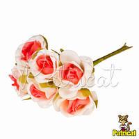 Розочки кораллово-белые декоративный букетик, диаметр 2,5 см 3 шт/уп