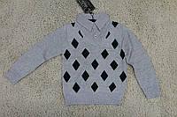 Вязаный пуловер- обманка для мальчиков 6 лет. серый
