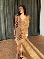 Шикарное блестящее платье с обьемным рукавом, фото 1