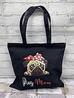 """Сумка шоппер pug mom  (34х36) """"Luna-Bag"""" RH-277"""