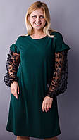 Виталина. Праздничное платье больших размеров. Изумруд.