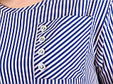 Галактика. Блуза вільного крою plus size. Пудра+синій., фото 7