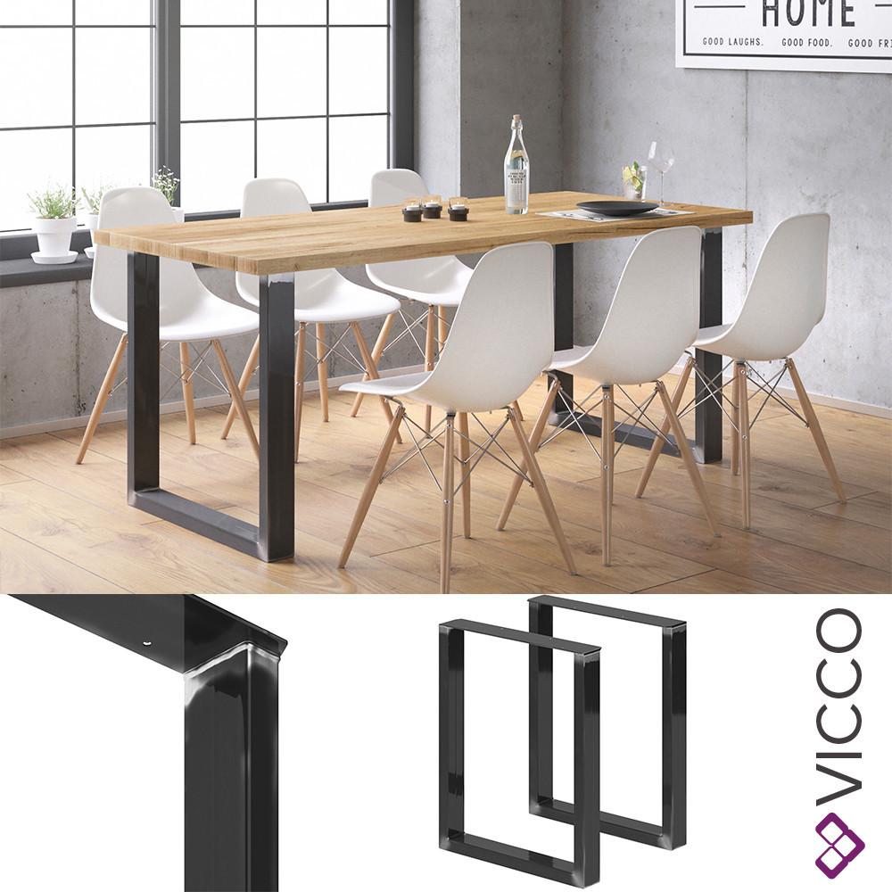 Vicco Ніжки для столу, лофт меблі, набір 2 шт 72x60 см, колір чорний глянець