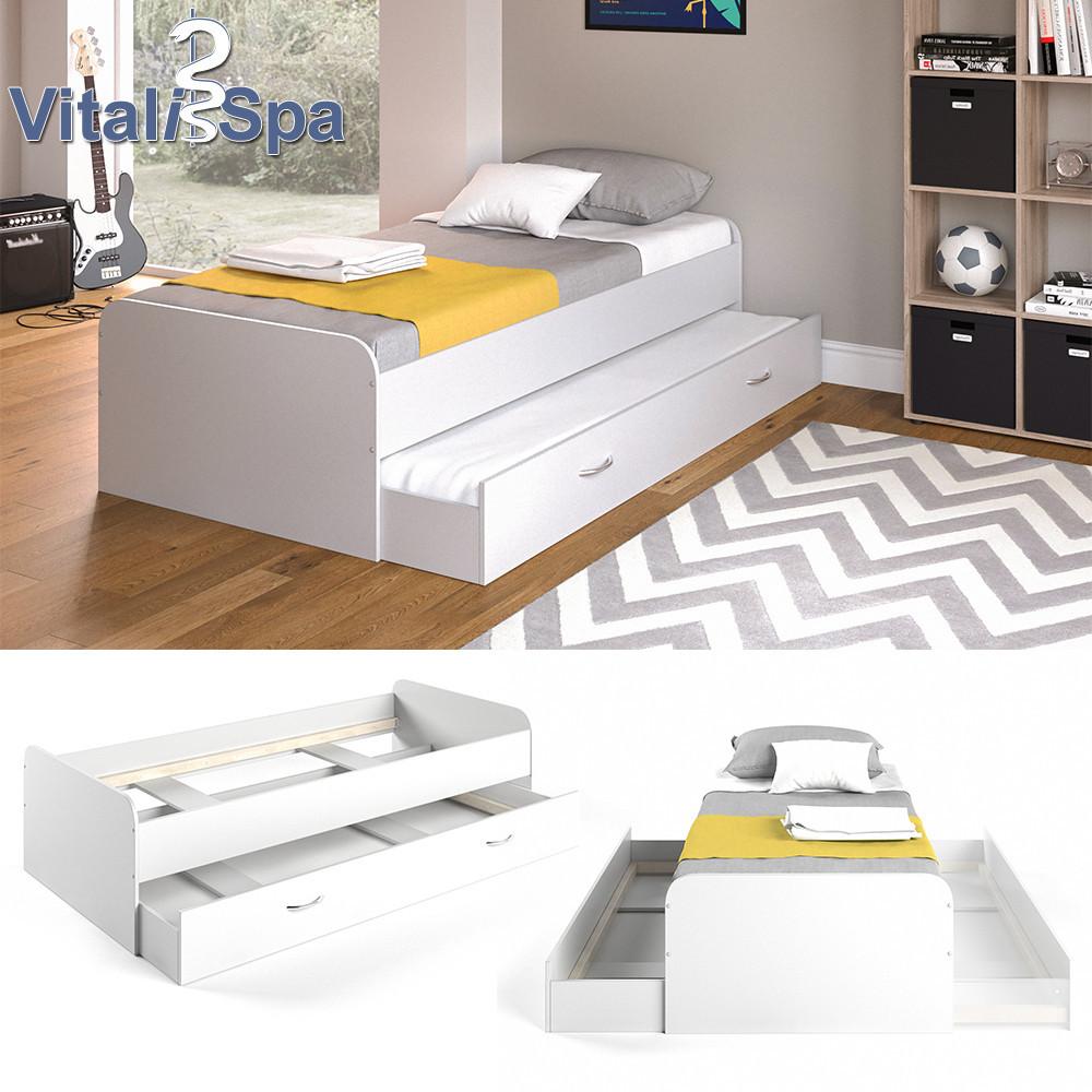 Vicco детская кровать Enzo с гостевым спальным местом без ламелей, 94x203 см, цвет белый