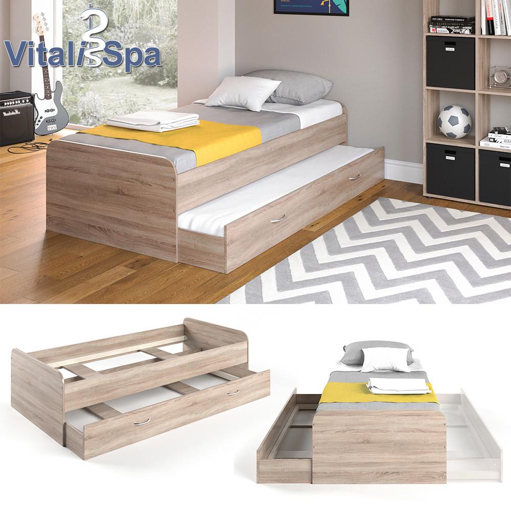 Vicco детская кровать Enzo с гостевым спальным местом без ламелей, 94x203 см, цвет сонома