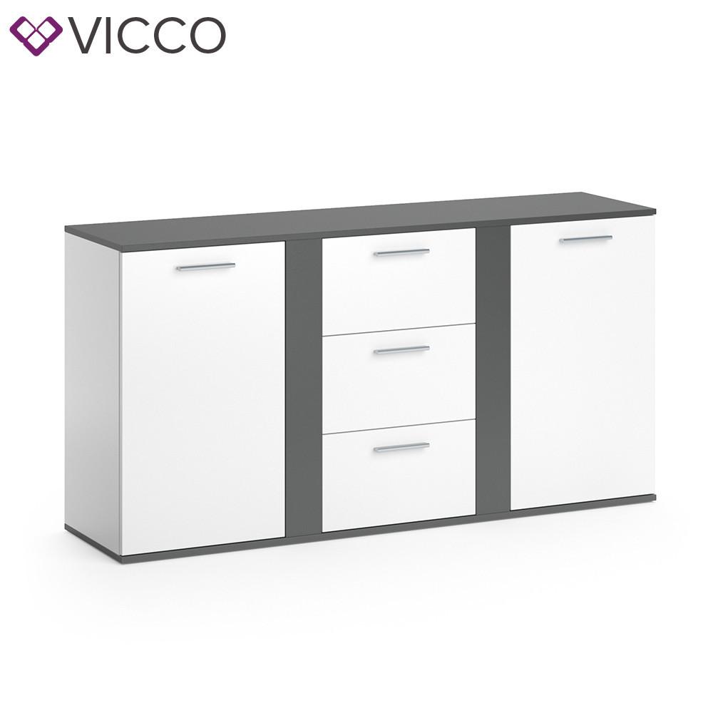 Vicco комод Novelli, 2 двери и 3 ящика, 155х80, цвет белый, антрацит