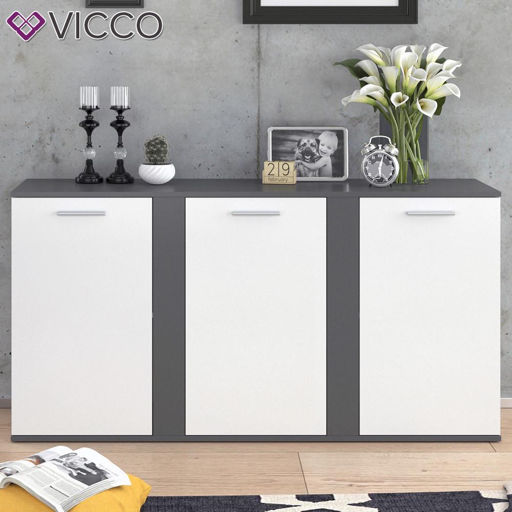 Vicco комод Novelli, 3 двери, 155х80, цвет белый, антрацит