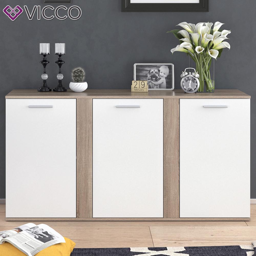 Vicco комод Novelli, 3 дверці , 155х80, колір білий, сонома