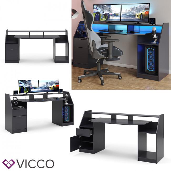 Геймерский стол Vicco Joel Big 180 см, черный