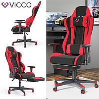 Геймерское кресло с подставкой для ног, Vicco Alpha, черно-красное