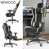 Геймерское кресло с подставкой для ног, Vicco Alpha, черно-серое
