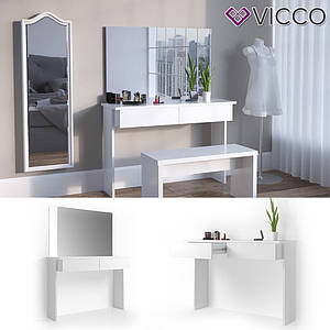 Дамский стол 120x83 с зеркалом Vicco Azur, белый глянец