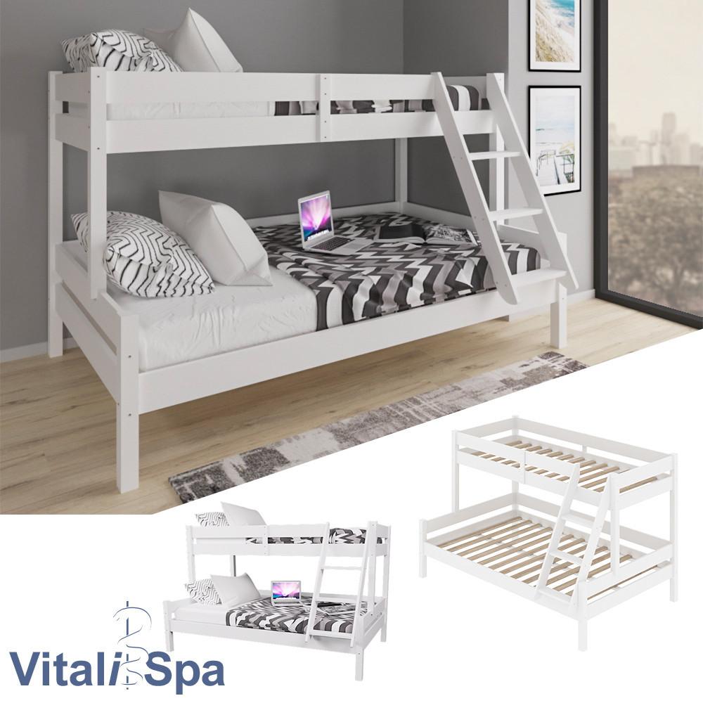 Двоярусне ліжко VitaliSpa 140х200, натуральне дерево, біле